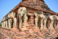 Elephant sculptures in Sukhothai Historical Park (UNESCO World H Stock Photo