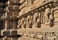 Elephant Sculptures at Vishvanatha Temple, Western temples of Khajuraho, Madhya Pradesh, India. UNESCO world heritage site. Elephant sculptures on the wall, at Stock Photography