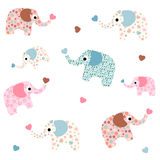 Elephant Seamless background. Seamless pattern of colored funny elephant decorative with hearts Stock Photo