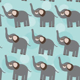 Elephant Seamless pattern with funny cute animal on a blue backg Royalty Free Stock Photo