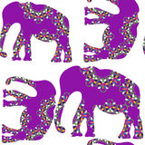Elephant seamless pattern and seamless pattern in swatch menu, v Stock Photo