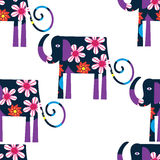 Elephant seamless pattern and seamless pattern in swatch menu, v Royalty Free Stock Photography