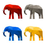 Elephant set painted in imaginary colors isolated on white Royalty Free Stock Photos