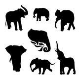 Elephant set vector. Elephant set of black silhouettes. Icons and illustrations of animals. Wild animals pattern stock illustration