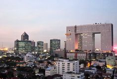 Elephant shape building roof top view Bangkok city under evening sky Stock Images