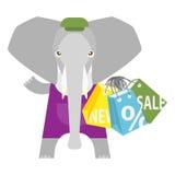 Elephant shopping Stock Photography