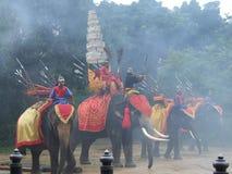Elephant show, Thailand. NAKOM PATHOM THAILAND, October 8: Elephants and Thai warriors performing a show in October 8, 2005 in Nakom Pathom, Thailand Stock Photos