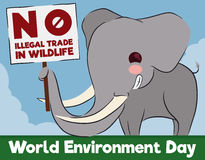 Elephant with Sign for Animal Rights in World Environment Day, Vector Illustration Royalty Free Stock Photo