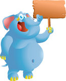 Elephant with sign Stock Photography