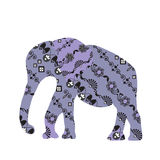 Elephant  silhouette, мусещк Royalty Free Stock Photography