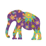 Elephant silhouette with flowers vector Royalty Free Stock Photos