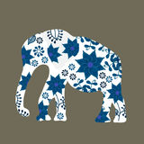 Elephant silhouette with flowers vector Royalty Free Stock Photography