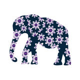 Elephant silhouette with flowers, Stock Photo