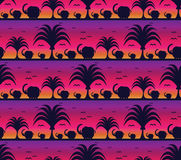 Elephant silhouette pattern.bird get back nest. Savanna pattern with elephants at sunset background Stock Illustration