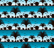 Elephant silhouette pattern seashore background. Elephants and birds, Elephants silhouette pattern Stock Illustration