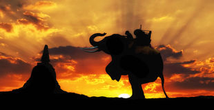 Elephant silhouette in Thailand Stock Photo
