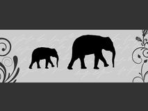 Elephant silhouettes Stock Photos