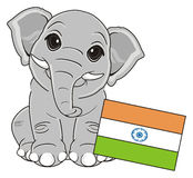 Elephant sit near the flag Stock Image