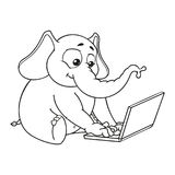 Elephant. Sits at the computer. Work on the Internet. Communication in the network. Vector, cartoon. Elephant cute Nick. Elephant. Character. Sits at the Royalty Free Stock Photos