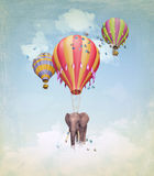 Elephant in the sky. With balloons. Illustration stock illustration