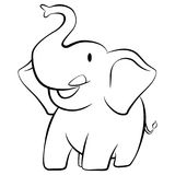 Elephant smiling cartoon character black and white Royalty Free Stock Photos