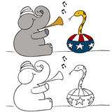 Elephant Snake Charmer Stock Photos