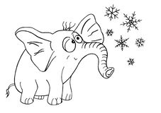 Elephant and snowflakes. Little elephant looking at the falling snowflakes Royalty Free Stock Photo