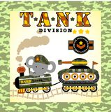 Elephant with armored vehicle. Elephant the soldier with armored vehicle on camouflage frame, vector cartoon. EPS 10 Stock Images