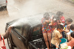 Elephant splashing water in Songkran day in Thailand. Royalty Free Stock Images