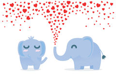 Elephant spraying many heart out of nose for flirt. Royalty Free Stock Photos