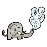 Elephant squirting water cartoon Royalty Free Stock Images