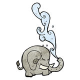 Elephant squirting water cartoon Stock Images