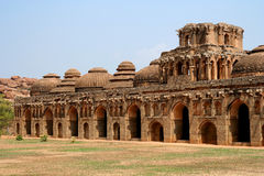 Elephant stables. Ancient Elephant stables among the ruins of Hampi, India Stock Photos
