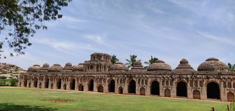 Ruins of Hampi a medieval city. The elephant stables at Hampi the capital of Vijaynagar Empire royalty free stock photo
