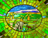 Elephant Stained Glass Window Stock Image