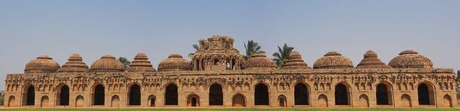 Elephant stalls Hampi. Royal Elephant Enclosures Buildings in Hampi, India royalty free stock photo