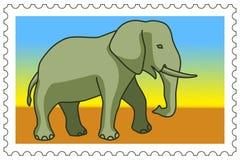 Elephant on stamp Royalty Free Stock Image