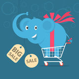 Elephant stands on shopping cart Royalty Free Stock Images