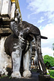 Elephant Statue. Photo of Elephant Concreted Statue at Temple in Thailand Royalty Free Stock Image