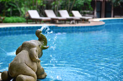 Elephant statue. Little elephant statue next to the swiming pool royalty free stock photos