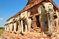 Elephant statue around pagoda Stock Image