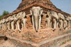 Elephant statue around pagoda Stock Photography