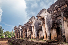 Elephant statue around pagoda at ancient temple  Wat Chang Lom at Srisatchanalai historical park, Sukhothai, thailand Royalty Free Stock Photo