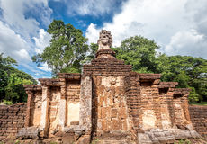 Elephant statue around pagoda at ancient temple  Wat Chang Lom at Srisatchanalai historical park, Sukhothai, thailand Stock Image