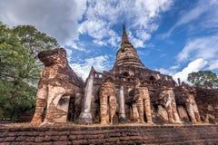 Elephant statue around pagoda at ancient temple  Wat Chang Lom at Srisatchanalai historical park, Sukhothai, thailand Stock Photography