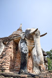 Elephant statue around pagoda at Wat Chang Lom temple , Sukhotha Stock Images