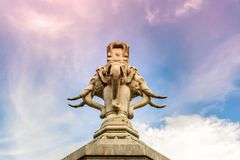 Elephant Statue in Bangkok Thailand. Elephant Head Monument in C. Loudy Day royalty free stock photos