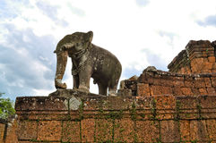 Elephant statue of Banteay Srei Temple Royalty Free Stock Images
