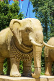 Elephant statue. Big elephant monuments from clay stock photo