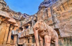 Chotta Kailasha, Ellora cave no 30. UNESCO world heritage site in Maharashtra, India. Elephant statue at Chotta Kailasha, Ellora cave no 30. A UNESCO world stock image